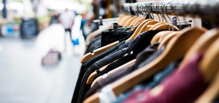 Image of clothing on a rack.
