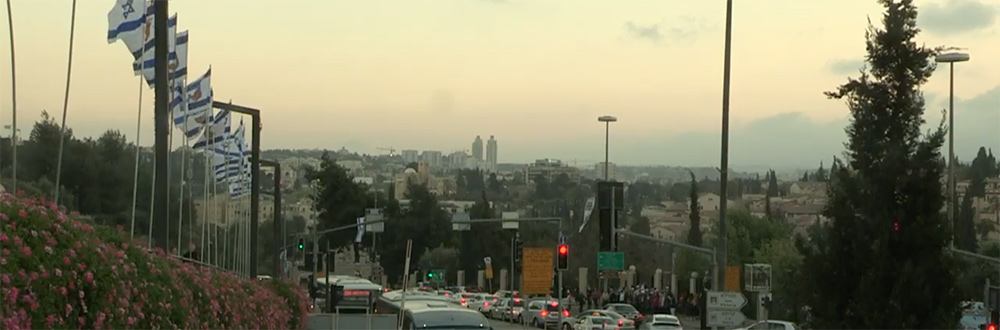 A view of the Jerusalem skyline at dusk