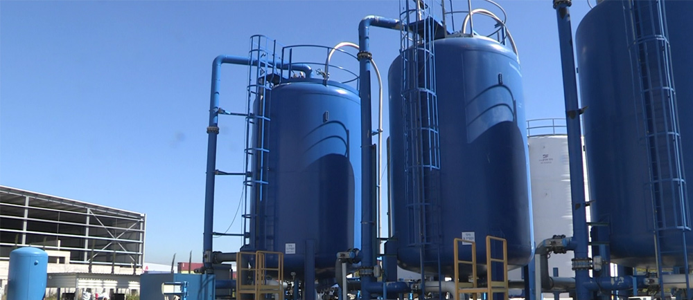 Blue water tanks in Israel.