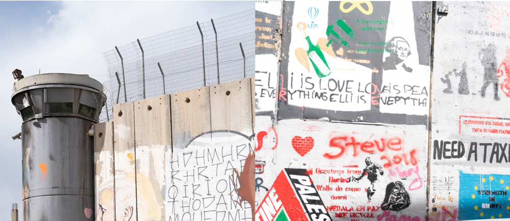 An image of the Israel border wall next to an image of a wall covered in graffiti.