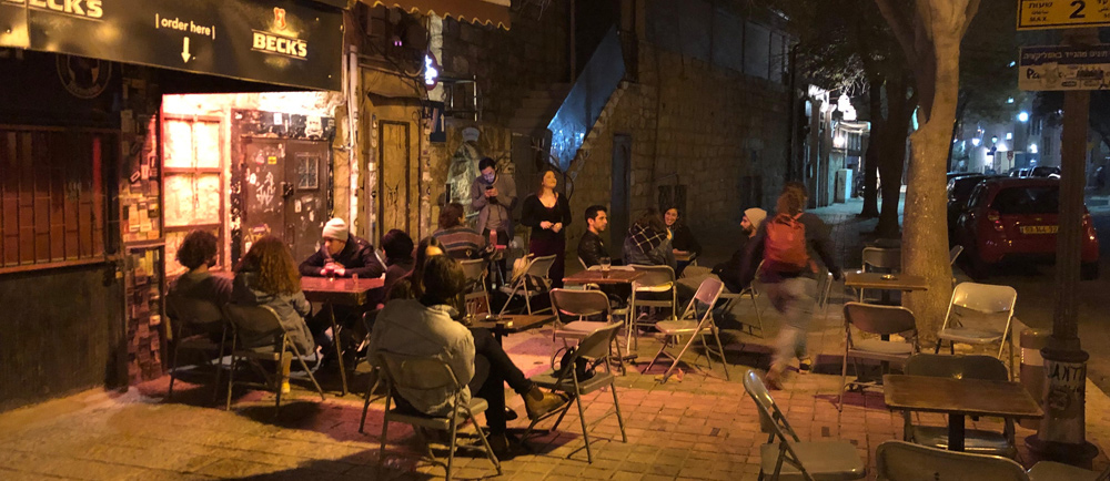 The patio in front of the complex is a popular site for club-goes to drink, smoke and enjoy the mild Jerusalem spring evening.